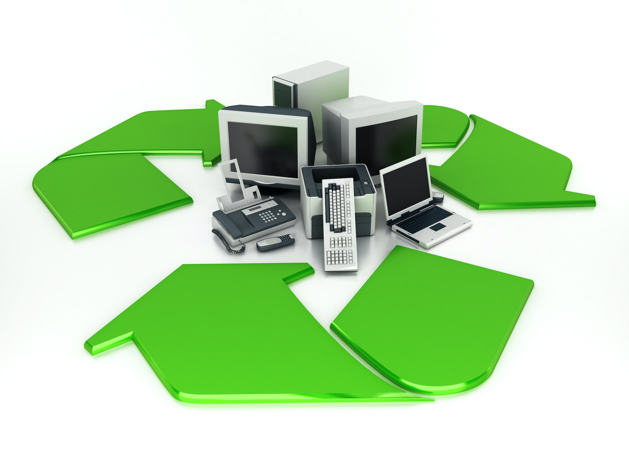 Old computers parts and electronics standing at the center of recycling symbol.Similar images: